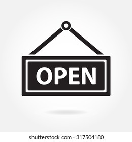 Open icon. Hanging sign with information welcoming shop visitors.