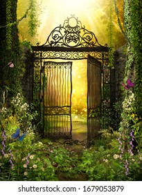 An open iron gate leads to an enchanting secret garden surrounded by ivy covered trees, 3d render.