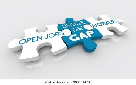Open Jobs Positions Puzzle Pieces Fill Worker Employee Shortage Solution 3d Illustration