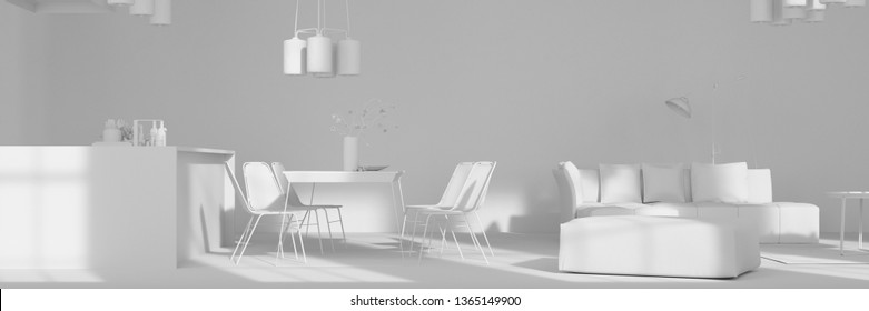 Open kitchen with dining area in the loft all in white (3D Rendering)