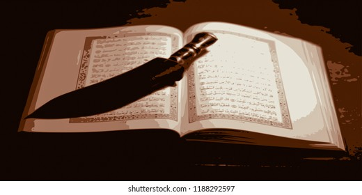 the open Koran and  a knife