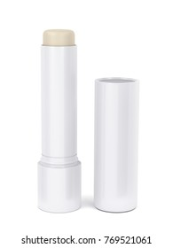 Open lip balm stick on white background, 3D illustration