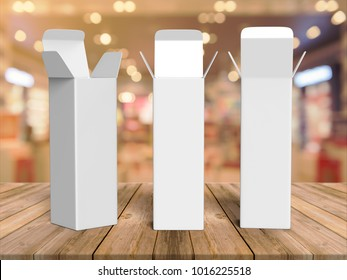 Open Long Rectangular Cardboard Package Box. Front View. Illustration Isolated On White Background. Mock Up Template Ready For Your Design. 3d render illustration.