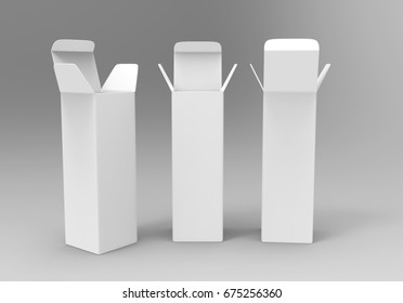 Open Long Rectangular Cardboard Package Box. Front back and perspective View. Illustration Isolated On White Background. Mock Up Template Ready For Your Design. 3d render illustration.