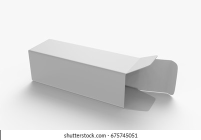 Open Long Rectangular Cardboard Package Box. Perspective View. Illustration Isolated On White Background. Mock Up Template Ready For Your Design. 3d render illustration.