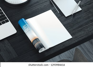 Open magazine with blank pages on gray table. Empty space. 3d rendering.