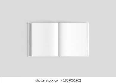 Open magazine or brochure mockup template isolated on white background. 3D rendering