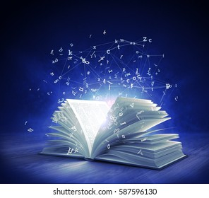 Open Magic Book with magic light and flying letters. 3d rendering.