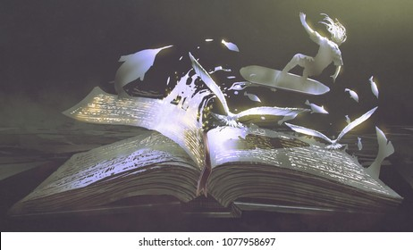 open magic book with surfer, birds and fishes coming out, digital art style, illustration painting