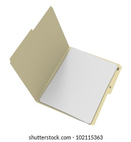 Open manila folder with blank white paper on white background