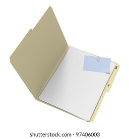 Open manila folder, blue post-it note and paper clip white background