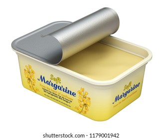 Open margarine box with abstract design isolated on white background - 3D illustration
