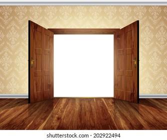 Open massive wooden big double door; wallpaper with decorative white moldings