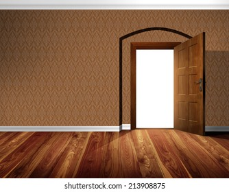 Open massive wooden door; coffee brown wallpaper with decorative white moldings and architectural element - barrel vault - background