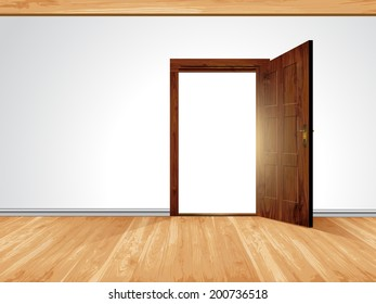 Open massive wooden door; white wall with decorative white moldings and wooden timber ceiling construction and wooden board floor