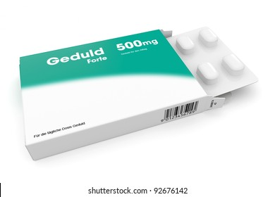 Open medicine packet labelled Gedult opened at one end to display a blister pack of white tablets, illustration on white