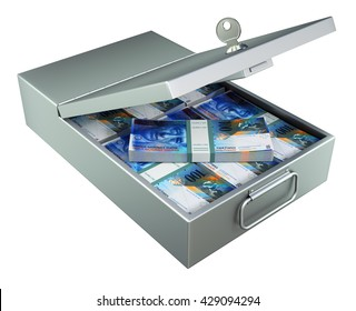 Open metal bank safety deposit box with swiss francs isolated on white background - 3D illustration