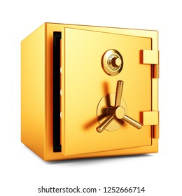 Open metal gold color bank security safe with dial code lock isolated on white background. 3D illustration