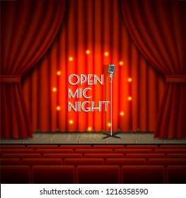 Open mic night live show background. realistic illustration of empty theater stage with red curtains, lights, microphone and chairs for audience.