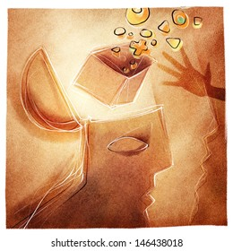 open mind /head, stylized illustrated metaphor for help, creativity, social issues etc.