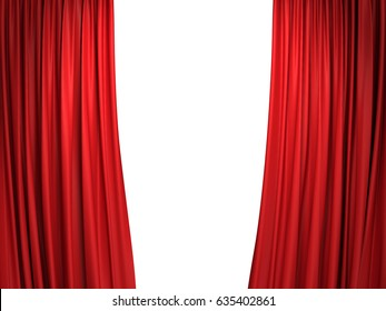 Open moving red velvet stage curtains on white background. 3D illustration