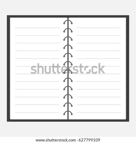 open notebook spiral blank lined paper stock illustration 627799109