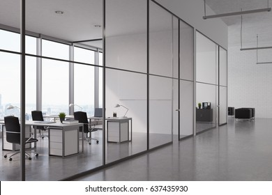 Open office interior with a glass wall, rows of tables with computers on them and panoramic windows. 3d rendering, mock up
