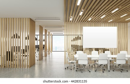 Open office interior with wooden partitions, New York city view and meeting area with blank whiteboard. Mock up, 3D Rendering