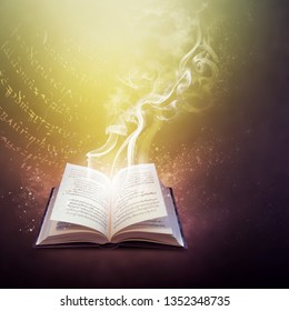 Open old book on the magic code of a spell, mysterious smoke and mystic bright light