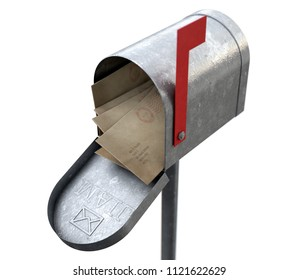 An open old school retro tin mailbox bulging with a stack of letters and envelopes crammed into it on an isolated background - 3D render