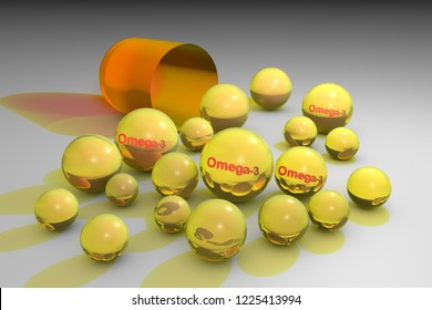 Open orange capsule with yellow omega-3 pills. Fish oil capsules. Polyunsaturated fatty acids. Vitamin and mineral complex. Healthy life concept. Medical background. 3d illustration