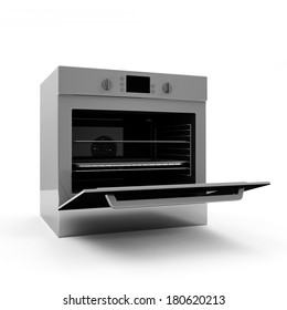 Open oven isolated on white background