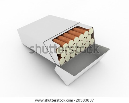 Open Pack Cigarettes Isolated On White Stock Illustration