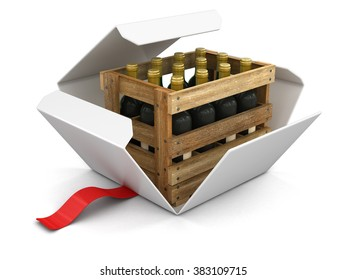 Open package with wine bottles in box. Image with clipping path