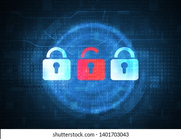 open padlock symbol over binary data background