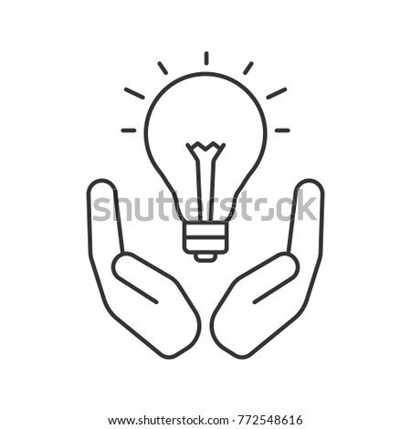 Open Palms Light Bulb Linear Icon Stock Illustration