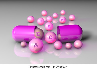 Open pink capsule with essential vitamin A, C, D, E, K, P, PP pills. Vitamin and mineral complex. Healthy life concept. Medical background. 3d illustration