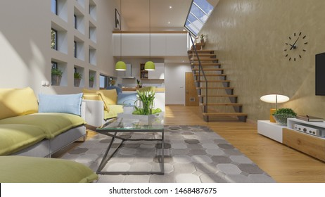 Open Plan House Design with a Mezzanine in Broad Daylight Illuminated and Furnished 3D Rendering