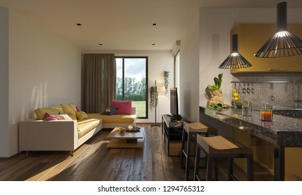 Open Plan Living Room and Kitchen with a View 3D Rendering