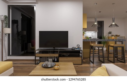 Open Plan Lounge and Kitchen Furnished and Illuminated 3D Rendering