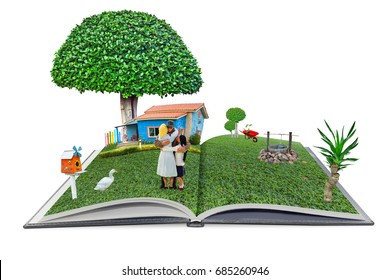 open pop up book family man and  home in the garden 3d style, home sweet home concept