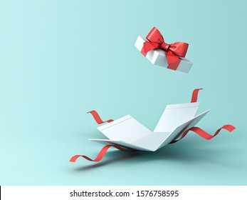 Open present box or gift box with red ribbons and bow isolated on green blue pastel color background with shadow 3D rendering