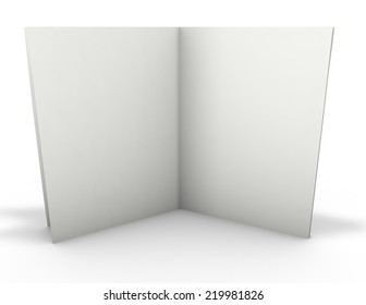 Open publication standing with shadow,  3d render isolated on white.