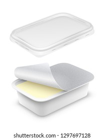 Open rectangular plastic container with foil, transparent lid and butter, melted cheese or yoghurt within. Mockup isolated over a white background. Packaging template 3d illustration.