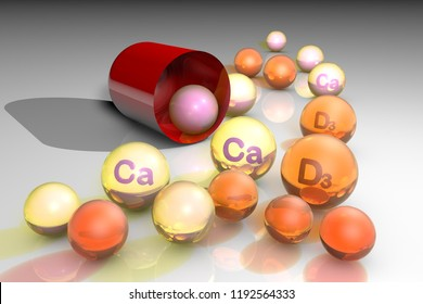 Open red capsule with essential vitamin D3 and calcium pills. Vitamin and mineral complex. Healthy life concept. Medical background. 3d illustration