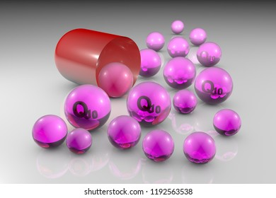 Open red capsule with pink essential coenzyme Q10 pills. Ubiquinone pills. Vitamin and mineral complex. Healthy life concept. Medical background. 3d illustration