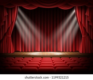 Open red curtain and empty illuminated theatrical scene realistic illustration. Grand opening concept, performance or event premiere poster, announcement banner template with theater stage