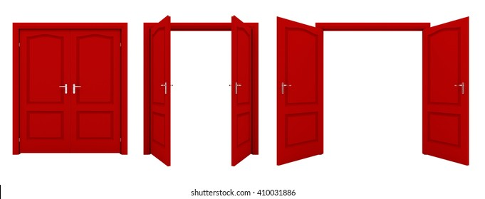 Open red double door isolated on a white background. 3D illustration. 3D illustration.