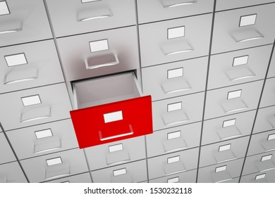 Open red empty drawer of cabinet - business and administration concept. 3D rendered illustration.