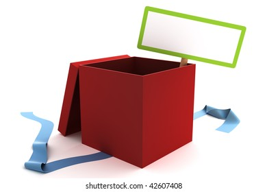 Open red gift box with a blank sign